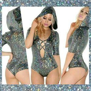 Tops - Hooded Holographic Shine Glitter Bodysuit • NEW